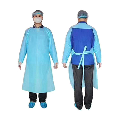 Blue Disposable CPE Gowns with Thumb Loop